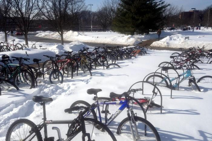 Cycling continues despite snowy, frigid winter