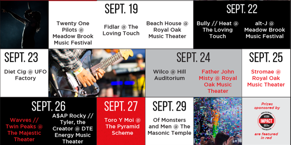 Michigan Concert Calendar: September & October
