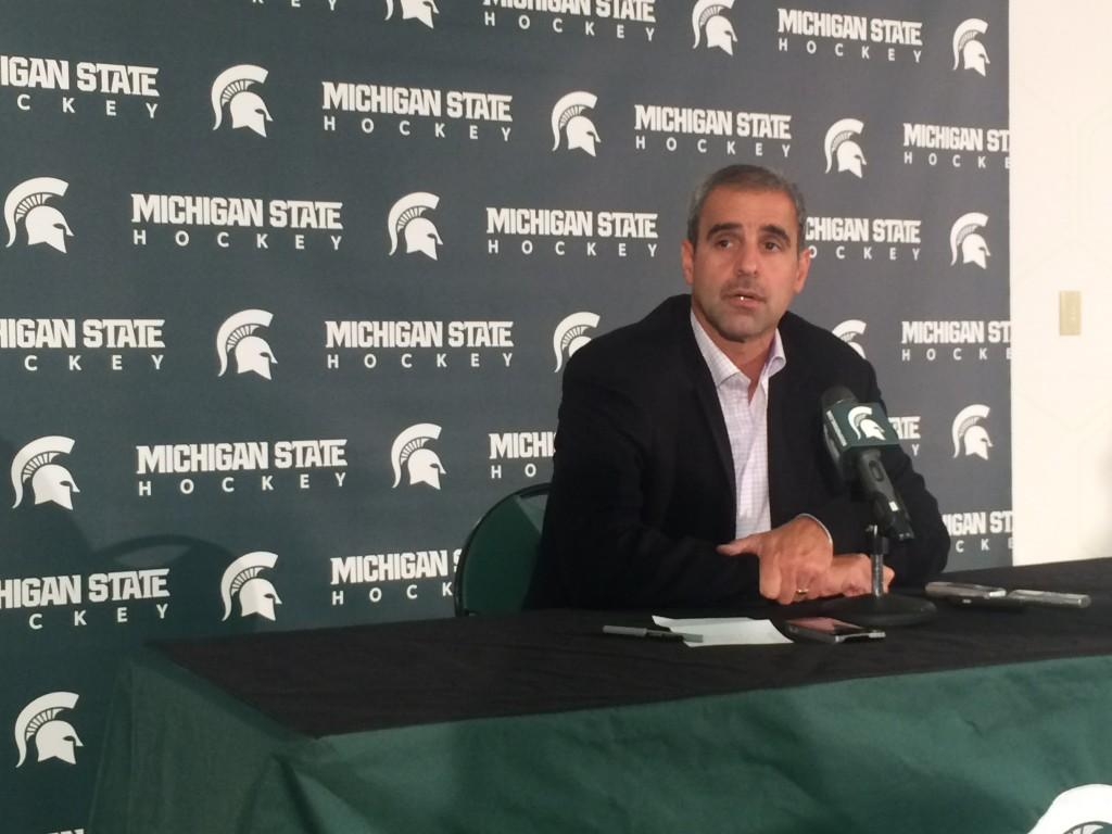 MSU+Hockey+Players%2C+Coaches+Discuss+High+Expectations+at+Media+Day