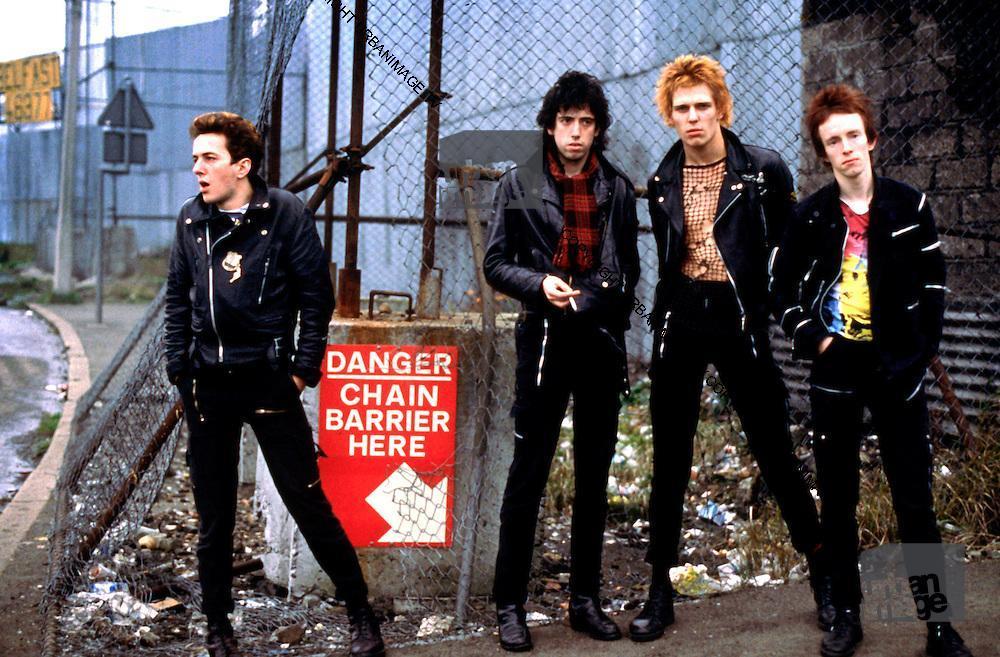 The Clash Mick Jones, Joe Strummer, Paul Simonon and Topper Headon photographed in Belfast, Northern Ireland 1977