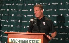 MSU head coach Danton Cole talks with the media after a game/ Photo Credit: MSU Athletic Communications