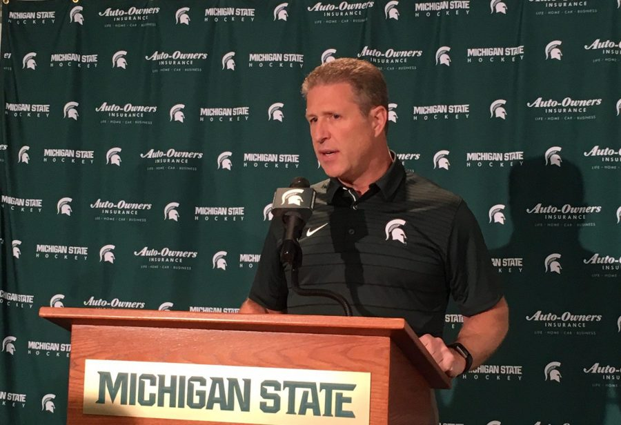 MSU+head+coach+Danton+Cole+talks+with+the+media+after+a+game%2F+Photo+Credit%3A+MSU+Athletic+Communications++