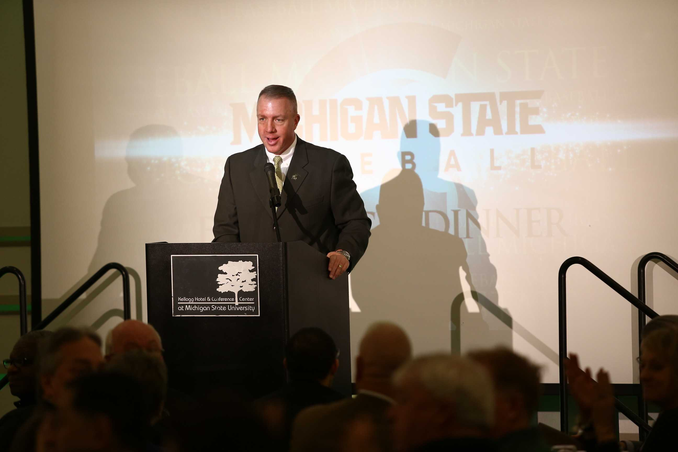 Head coach Jake Boss speaks at the First Pitch Dinner/Photo: MSU Athletic Communications