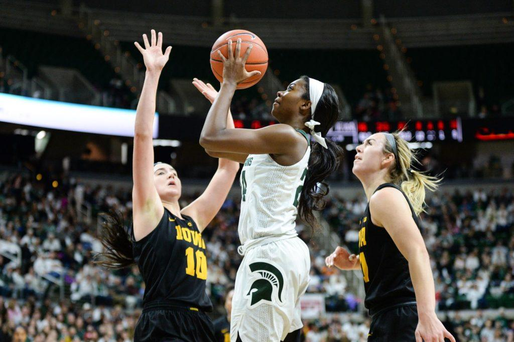 Nia+Clouden+attempts+a+floater+against+Iowa%2F+Photo+Credit%3A+MSU+Athletic+Communications