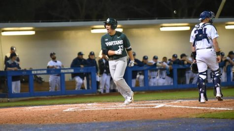 Spartans persevere through lengthy rain delay to down EMU