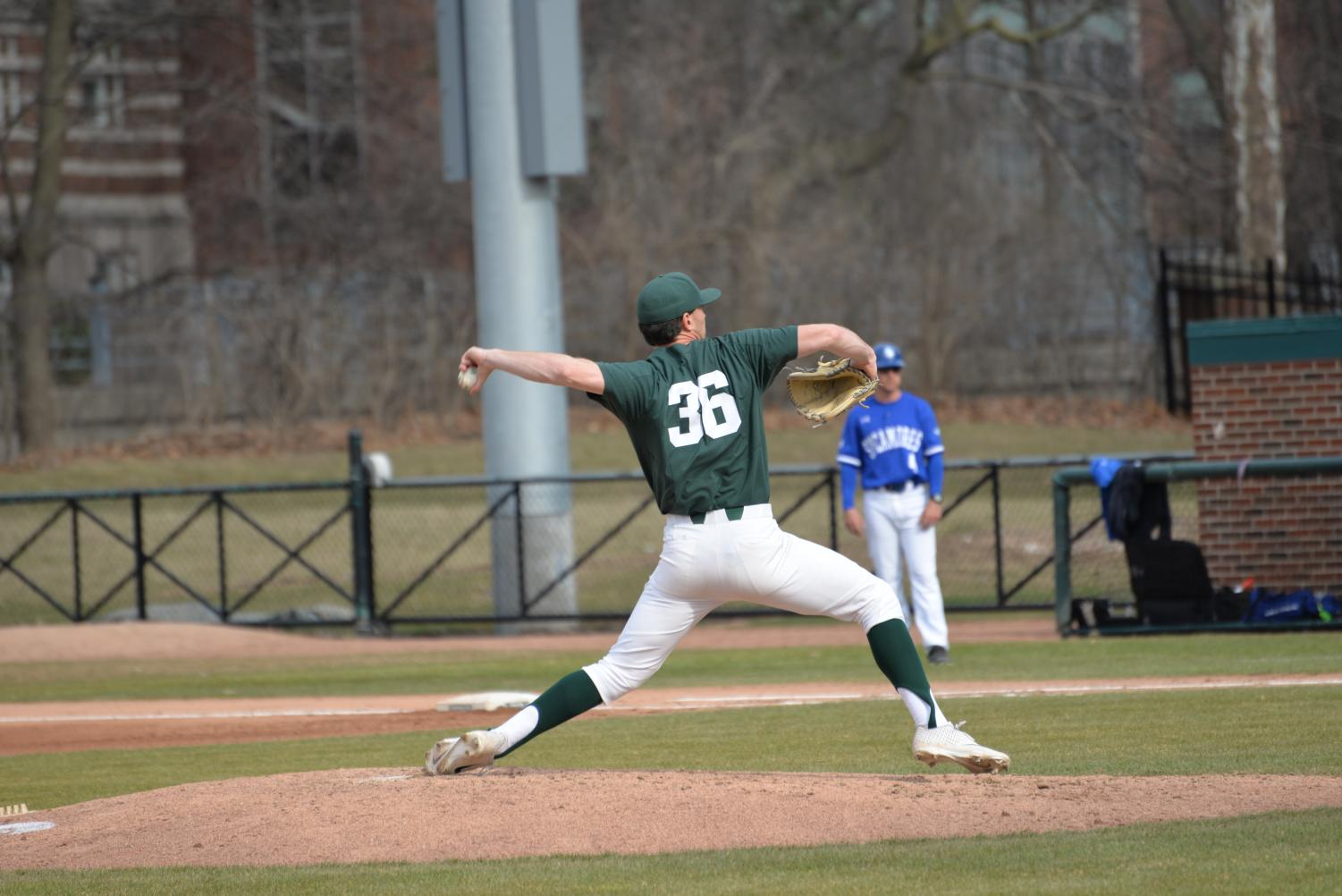 Mitchell Tyranski winds up for one of his 115 pitches Saturday.