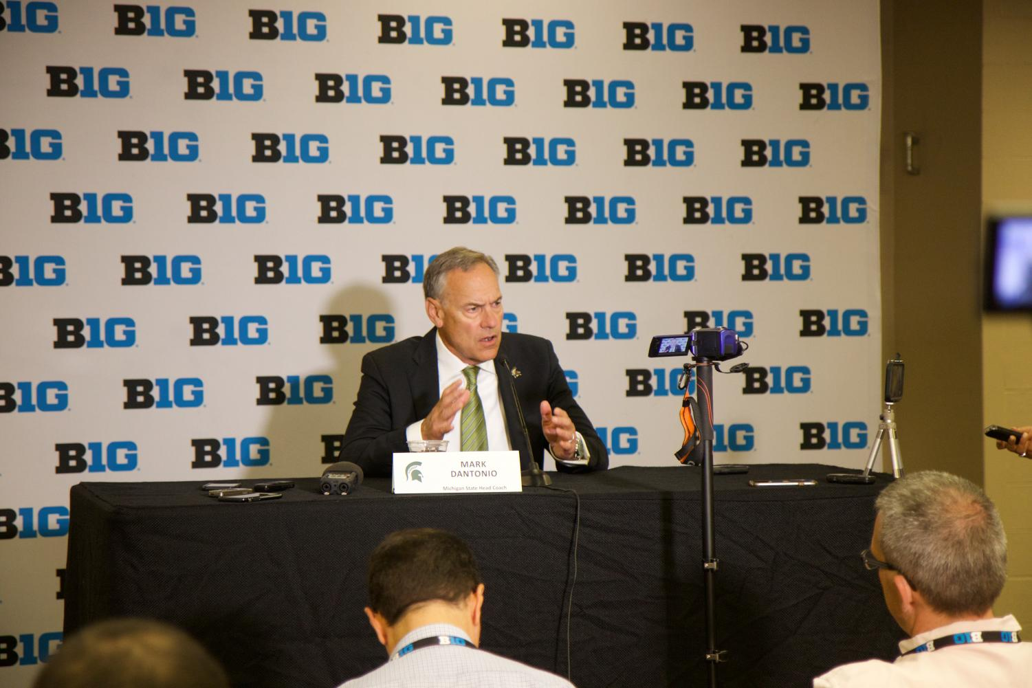 Coach Mark Dantonio speaks about his optimism for the 2019 season. Credit: Trent Balley / WDBM