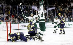 Mitchell Lewandowski celebrates after scoring against Michigan/Photo Credit: MSU Athletic Communications