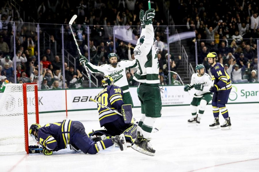 Mitchell Lewandowski celebrates scoring against Michigan/Photo Credit: MSU Athletic Communications
