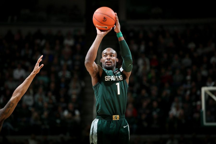 Joshua+Langford+shoots+the+ball+during+a+game%2FPhoto+Credit%3A+MSU+Athletic+Communications+