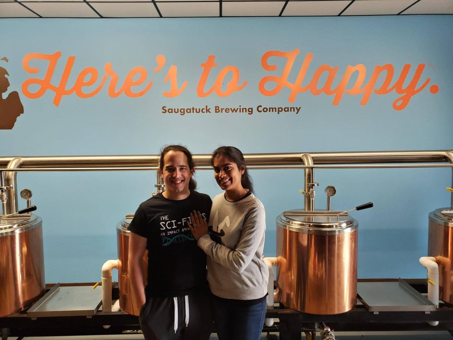 Chelsie Boodoo and Daniel Puentes, co-hosts for The Sci-Files, MSU SciComm President and Treasurer respectively, at the Saugatuck Brewery.