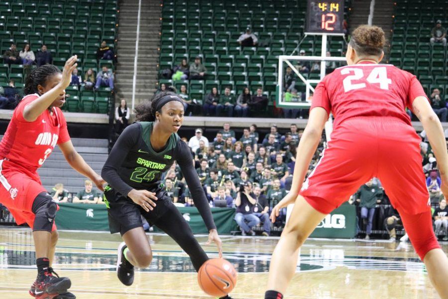 Nia Clouden dribbles against Ohio State/ Photo Credit: Ian Gilmour/WDBM