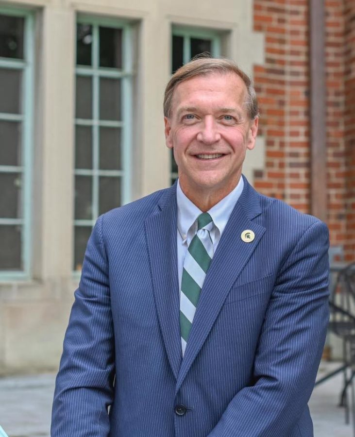 MSU President Samuel L. Stanley Jr. poses for a photo on MSU's campus. (Credit: Hilton Head Spartans / Facebook)