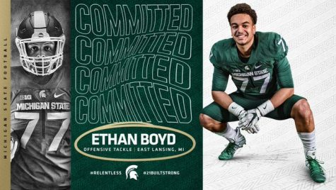 East Lansing offensive linemen Ethan Boyd announced his commitment via Twitter. (Credit: Ethan Boyd / Twitter)