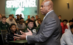 Michigan State head football coach Mel Tucker addresses his football team/ Photo Credit: Michigan State Athletic Communications)