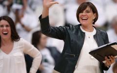 Cathy George celebrates a successful set/ Photo Credit: MSU Athletic Communications
