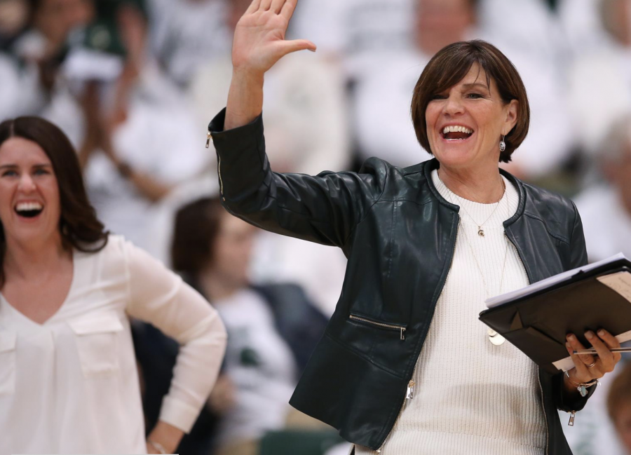 Cathy George celebrates a successful set/ Photo Credit: MSU Athletic Communications