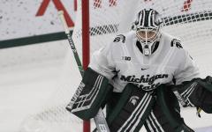 Drew DeRidder in the net/Photo Credit: MSU Athletic Communications