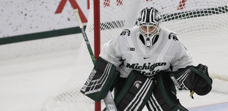 Drew DeRidder in the net/Photo Credit: MSU Athletic Communications
