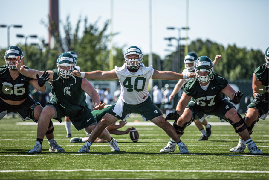 Jude Pedrozo during practice/Photo Credit:  MSU Athletic Communications