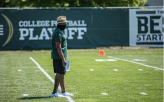 Mel Tucker watching over practice/Photo Credit: MSU Athletic Communications