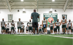Mel Tucker talking to his team during practice/Photo Credit: MSU Athletic Communications