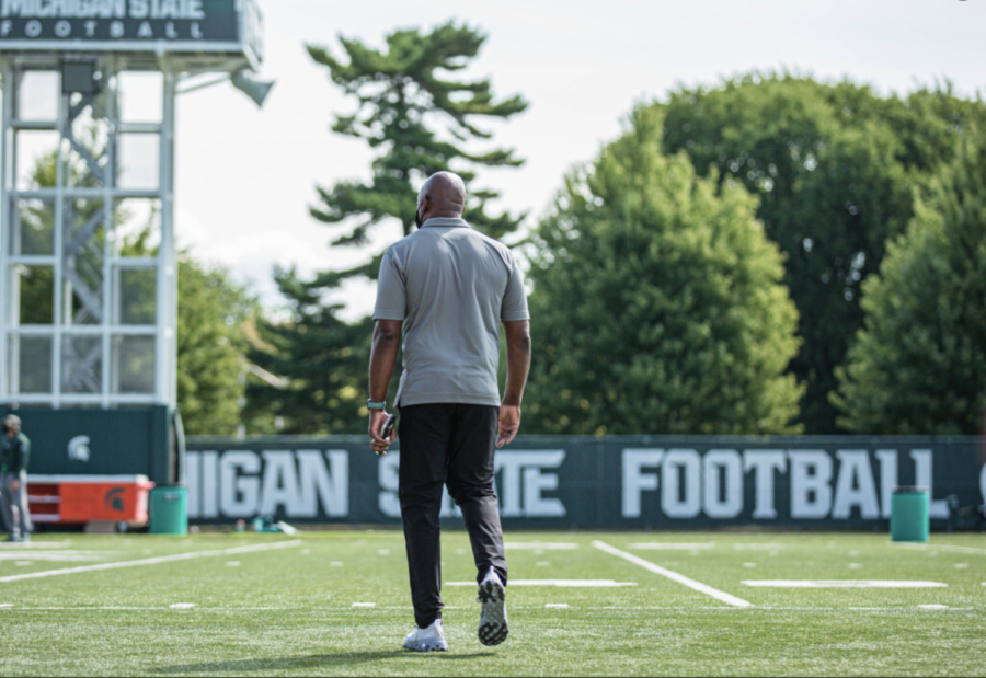 Mel Tucker walks out onto the practice field/Photo Credit: MSU Athletic Communications
