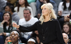 Suzy Merchant gives instructions during a game/ Photo Credit: MSU Athletic Communications