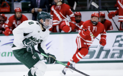 MSU defenseman Cole Krygier skates against Wisconsin/Photo Credit: MSU Athletic Communications