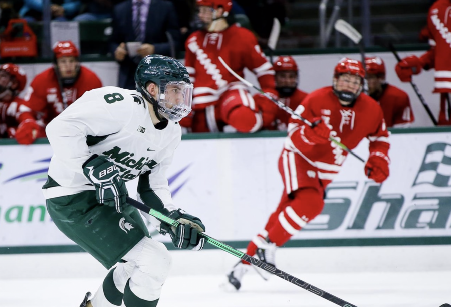MSU defenseman Cole Krygier skates against Wisconsin/Photo Credit: MSU Athletic Communications