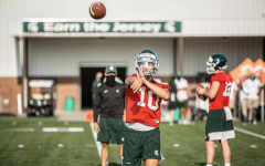 MSU QB Payton Thorne throwing during practice/ Photo Credit: MSU Athletic Communications