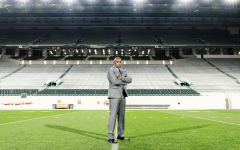 Mel Tucker stands in an empty Spartan Stadium/ Photo Credit: MSU Athletic Communications
