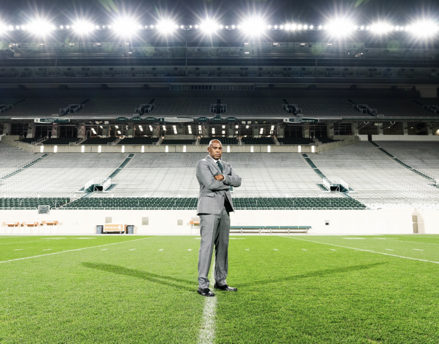 Mel+Tucker+stands+in+an+empty+Spartan+Stadium%2F+Photo+Credit%3A+MSU+Athletic+Communications%0A