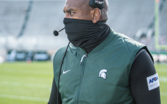 Mel Tucker intently watches the MSU vs. Rutgers game/ Photo Credit: MSU Athletic Communications