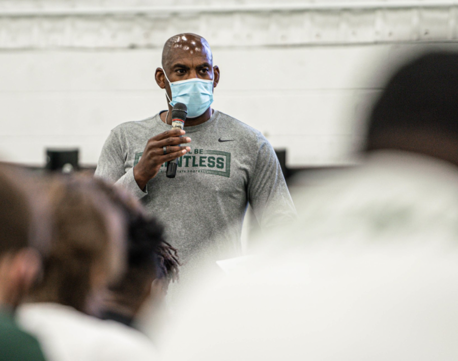 Mel Tucker addresses his team after losing to Rutgers/ Photo Credit: MSU Athletic Communications