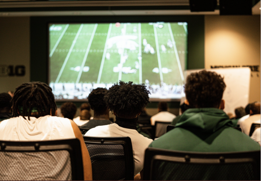 MSU football watches film from their 38-27 loss against Rutgers/ Photo Credit: MSU Athletic Communications
