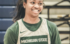 Nia Clouden smiles during practice/ Photo Credit: MSU Athletic Communications
