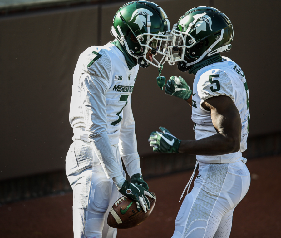 Ricky+White+and+Jayden+Reed+celebrate+White%27s+first+career+touchdown%2F+Photo+Credit%3A+MSU+Athletic+Communications+%0A