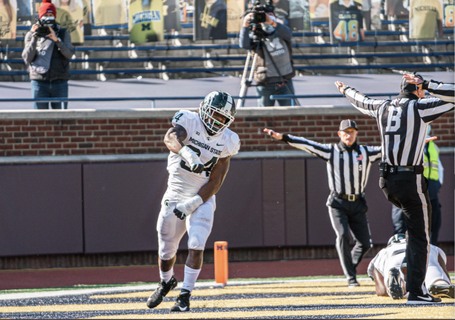 Antjuan Simmons celebrates after breaking up a pass in the end zone. Photo credit: MSU Athletic Communications.
