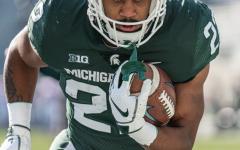 Jordan Simmons warms up vs. Indiana/ Photo Credit: MSU Athletic Communications