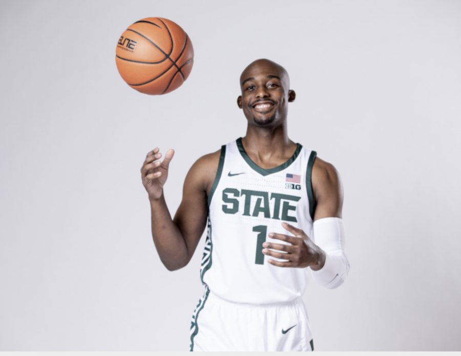 Joshua+Langford+poses+for+the+media%2F+Photo+Credit%3A+MSU+Athletic+Communications