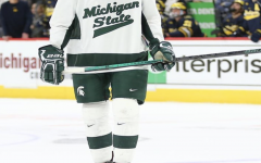 MSU defenseman Christian Krygier skates against Michigan/ Photo Credit: MSU Athletic Communications