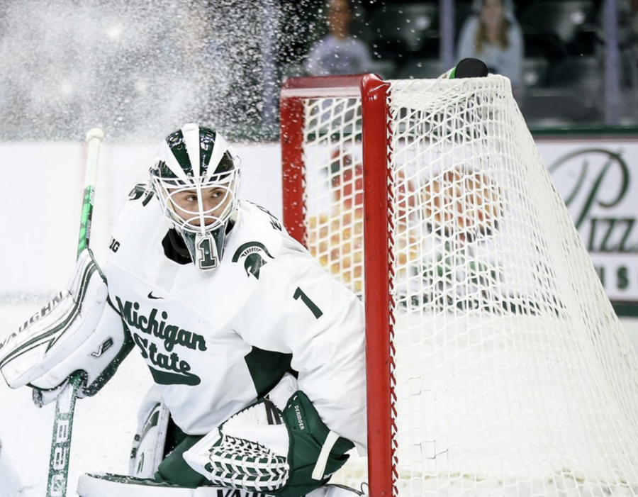 Drew DeRidder watches intently as a puck bypasses the net/ Photo credit: MSU Athletic Communications