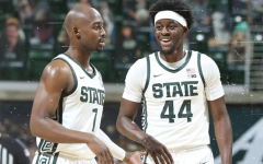 Joshua Langford and Gabe Brown smile after beating Notre Dame 80-70/ Photo Credit: MSU Athletic Communications