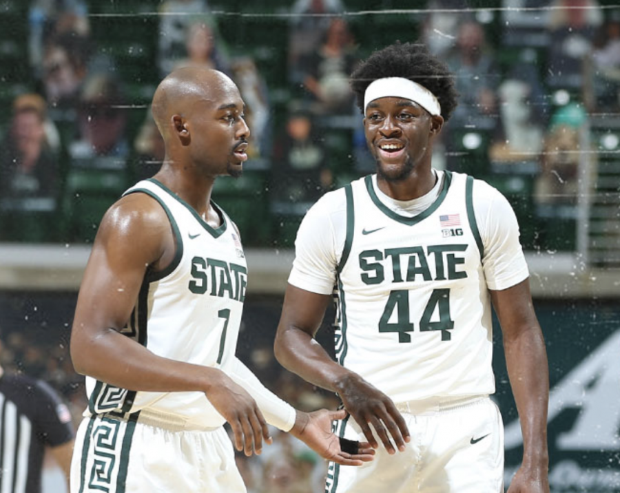 Joshua+Langford+and+Gabe+Brown+smile+after+beating+Notre+Dame+80-70%2F+Photo+Credit%3A+MSU+Athletic+Communications%0A