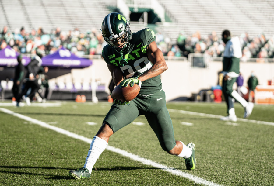 Shakur Brown warms up against Northwestern/ Photo Credit: MSU Athletic Communications