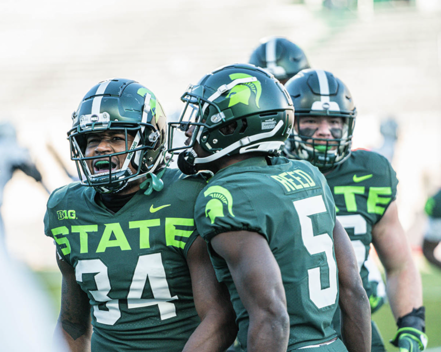 Antjuan Simmons celebrates after stopping Northwestern on fourth down/ Photo Credit: MSU Athletic Communications