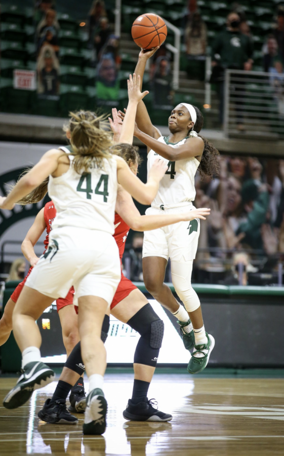 Nia Clouden attempts a runner in the lane against St. Francis/ Photo Credit: MSU Athletic Communications