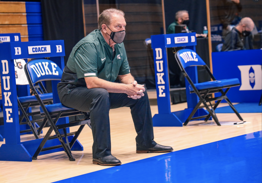 Tom Izzo watches his team square off against Duke/Photo: MSU Athletic Communications