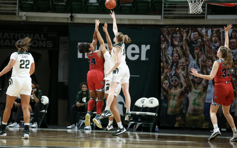 Julia+Ayrault+skies+for+a+rebound+against+Detroit+Mercy%2F+Photo+Credit%3A+MSU+Athletic+Communications